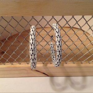 White Medium Hoop Fashion Earrings
